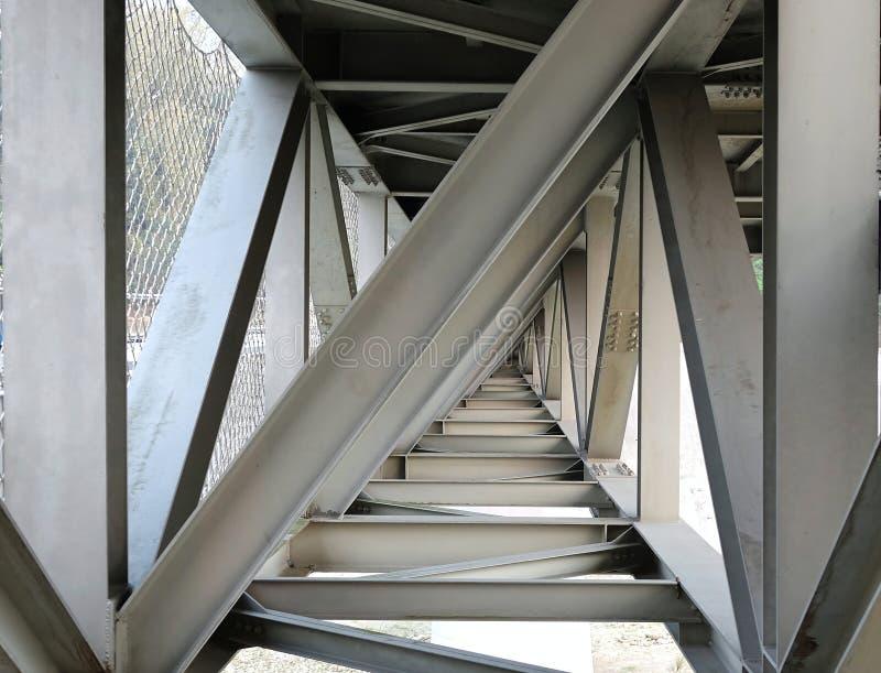 Ponte di trave d'acciaio visto da sotto immagine stock