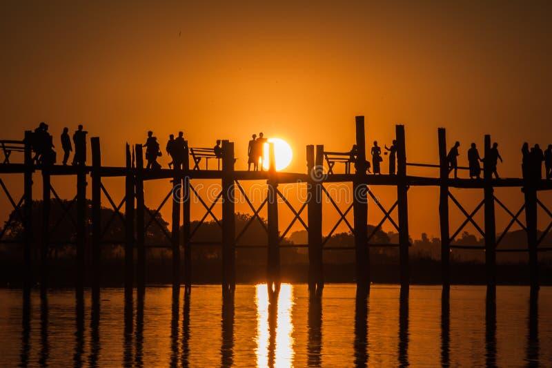 Ponte di U Bein, Amarapura, Myanmar immagine stock libera da diritti
