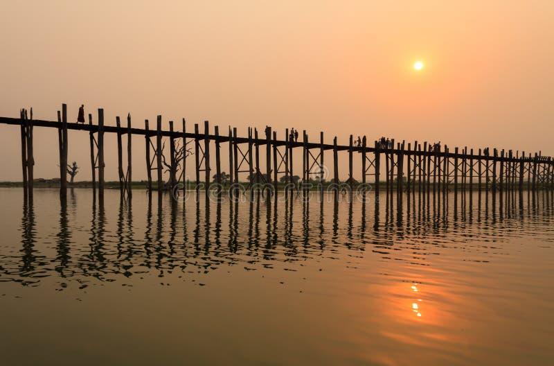 Ponte di U-bein, Myanmar fotografia stock libera da diritti
