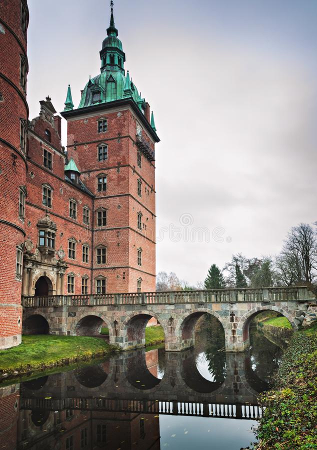 Ponte Dinamarca do castelo de Vallo fotografia de stock royalty free