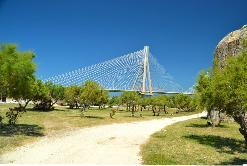 Ponte do antirio de Rioa no patra greece fotos de stock royalty free
