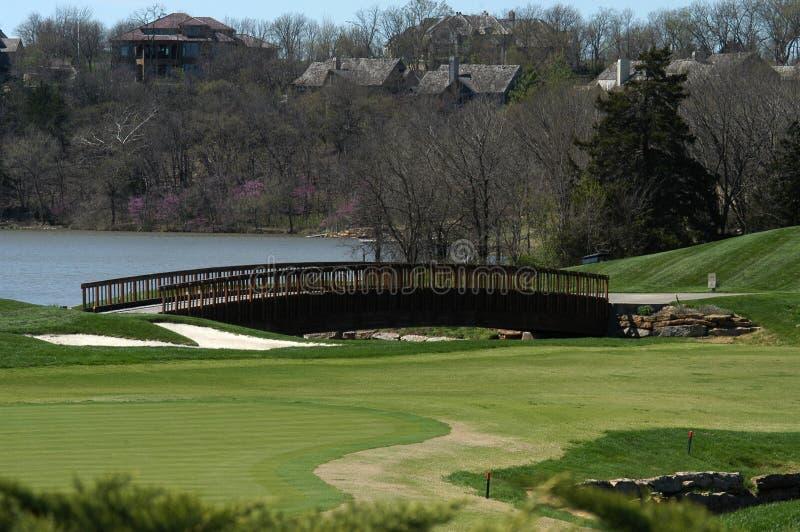Ponte do campo de golfe da angra do cedro imagens de stock