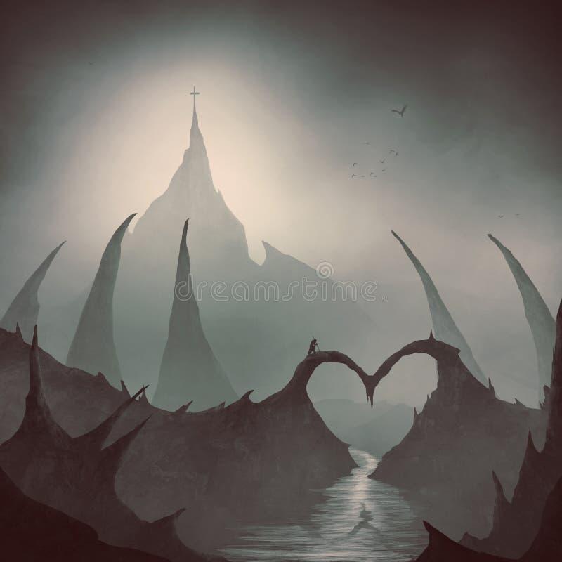 A ponte do coração conduz a uma cruz foto de stock royalty free