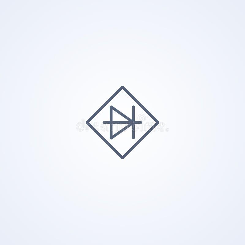 Ponte do diodo, a melhor linha cinzenta símbolo do vetor ilustração stock