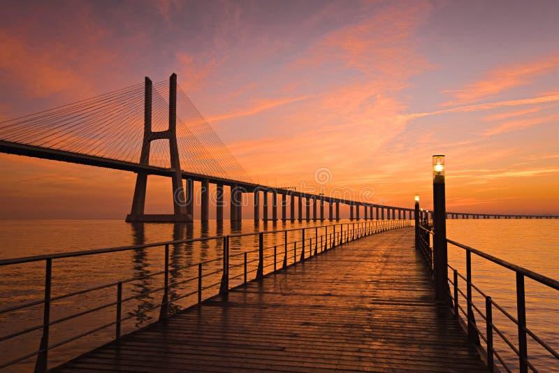 Ponte do Gama de Vasco a Dinamarca foto de stock royalty free