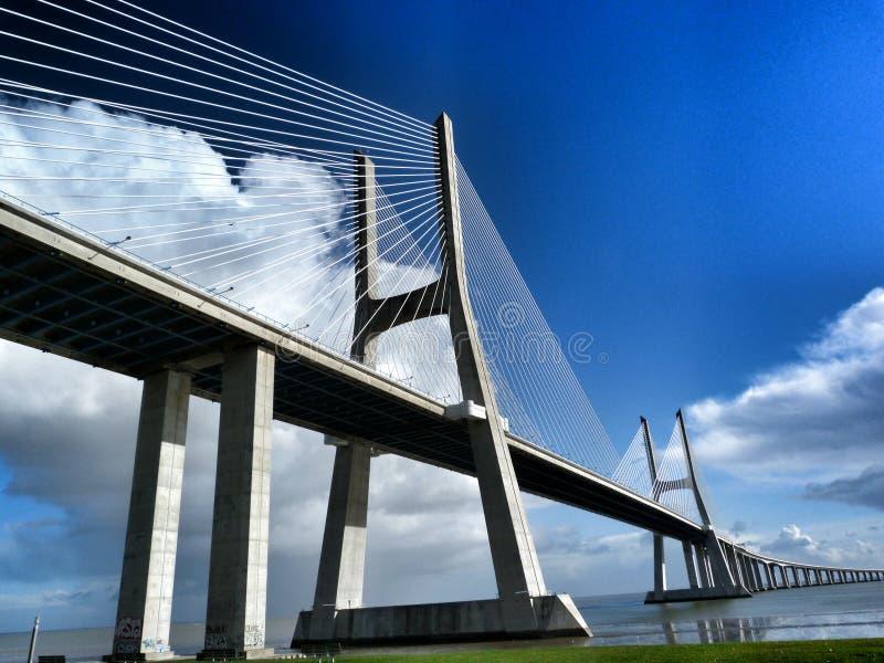 Ponte do Gama de Vasco a Dinamarca, Lisboa, Portugal imagens de stock royalty free