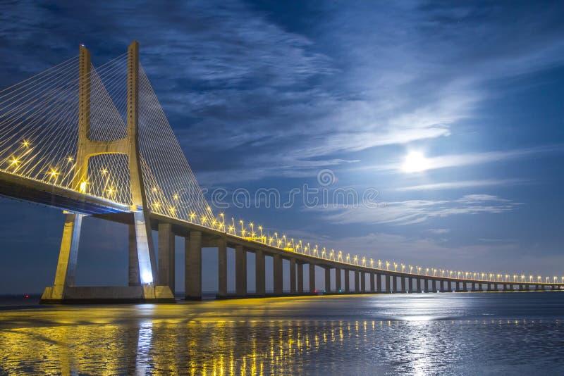Ponte do Gama de Vasco a Dinamarca no crepúsculo foto de stock royalty free