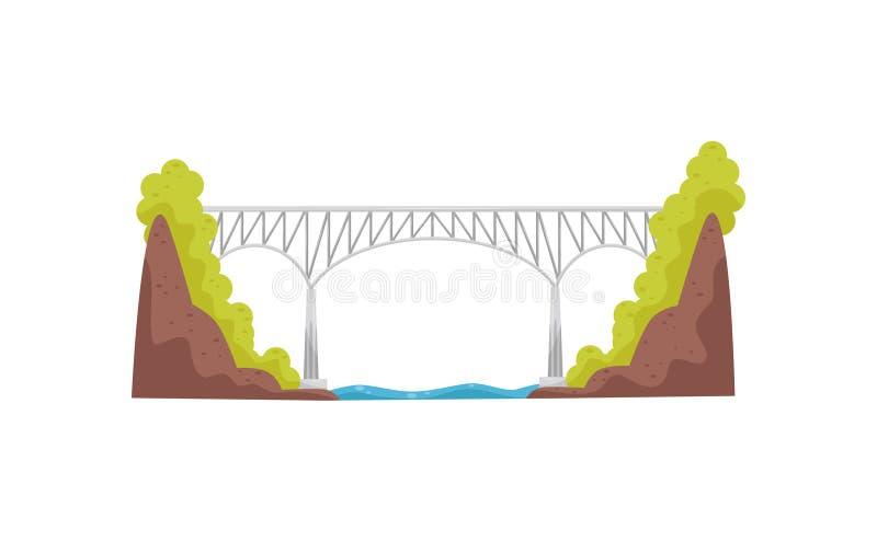 Ponte do grande e metal alto Construção moderna do ferro para o transporte Vetor liso para o jogo móvel do mapa da cidade ilustração stock