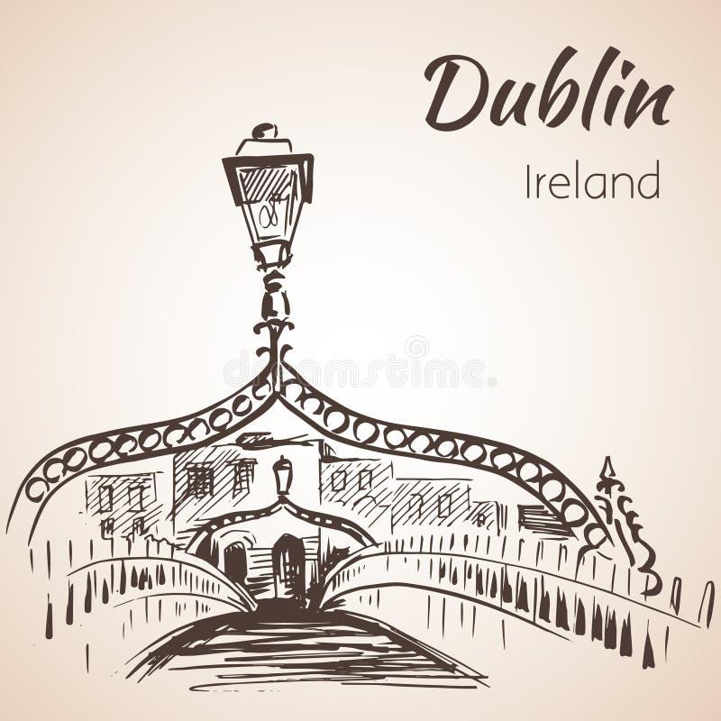 Ponte do halfpenny, Dublin, Irlanda ilustração royalty free