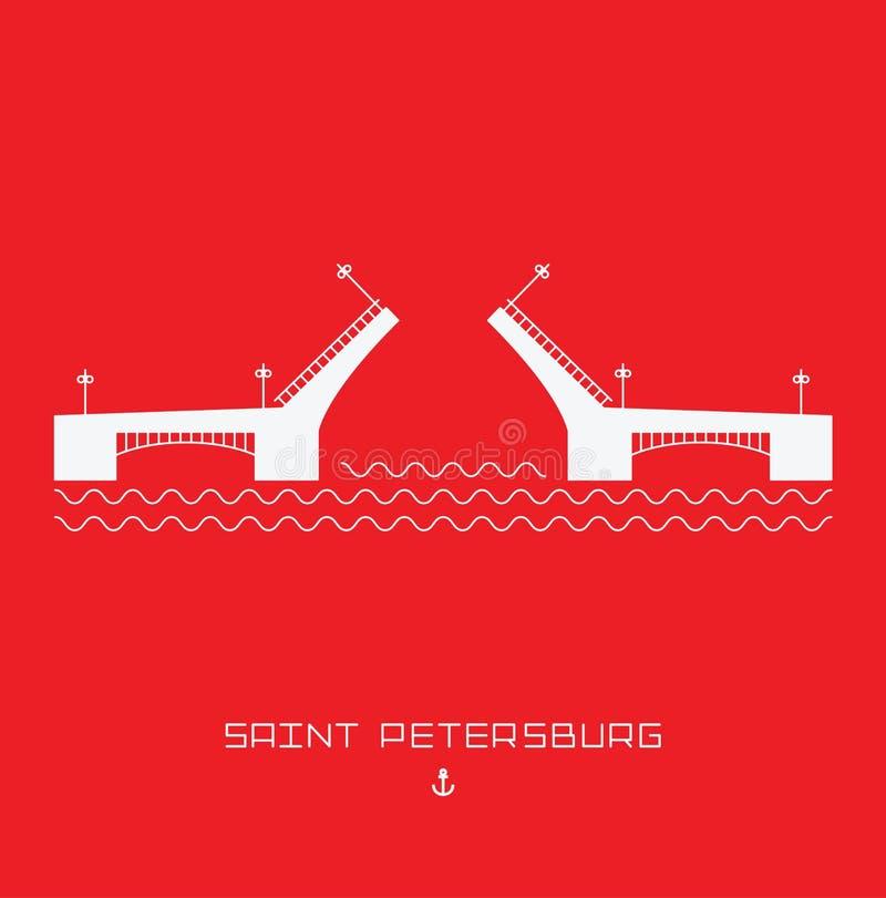 Ponte do palácio - símbolo de St Petersburg, Rússia Linha simples tirada Ilustração do vetor ilustração royalty free