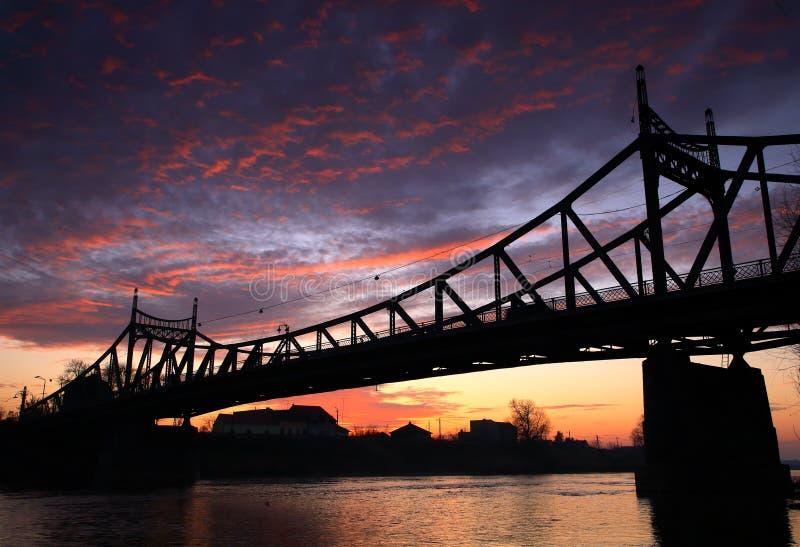 Ponte do por do sol imagens de stock