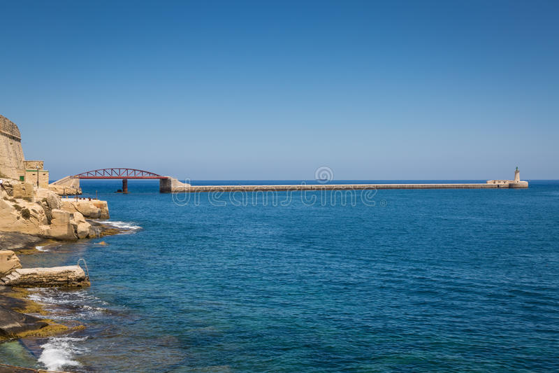 Ponte do quebra-mar, Valletta, Malta fotografia de stock royalty free