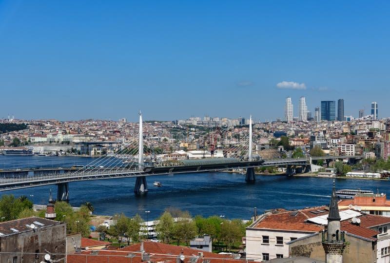 Ponte dorato Costantinopoli, Turchia della metropolitana di Horn immagine stock