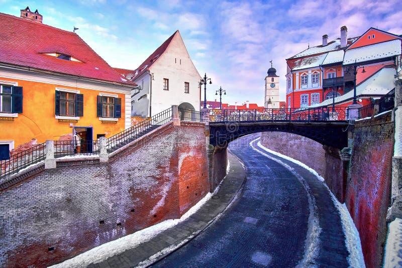 Ponte dos mentirosos de Sibiu Romênia Transilvania foto de stock royalty free
