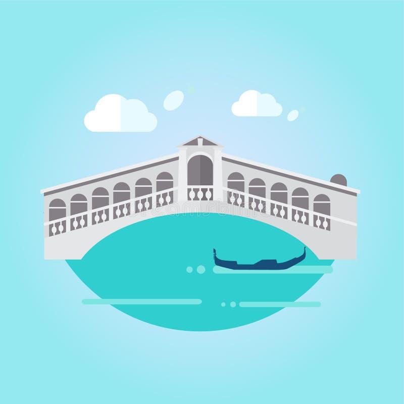Ponte e barco de Veneza no vetor liso do estilo ilustração stock