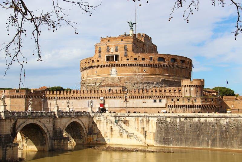 Ponte di Sant'Angelo e castello, Roma immagini stock libere da diritti