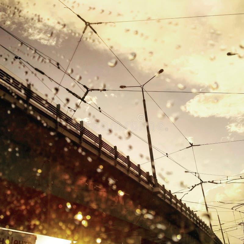 Ponte e cavi della strada nei raggi dorati di tramonto sotto pioggia fotografia stock