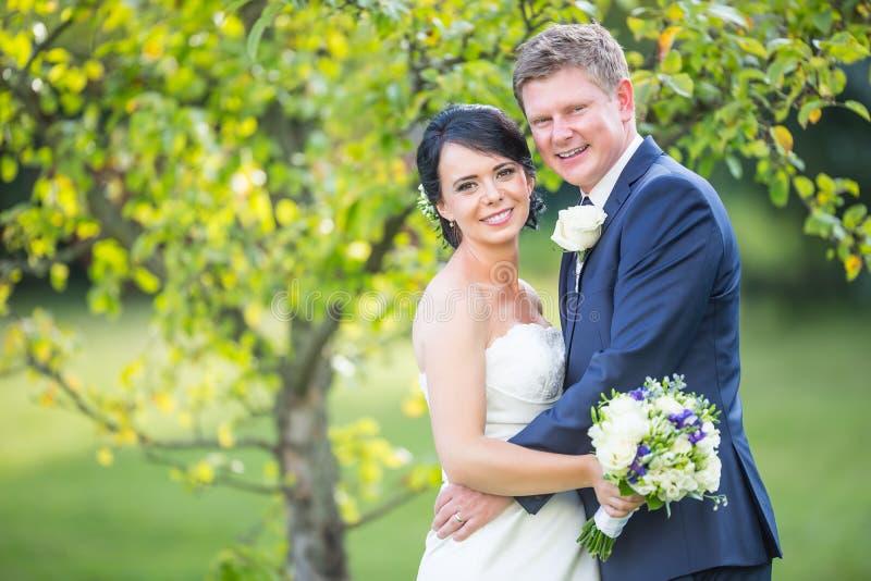 Ponte e noivo Pares felizes do casamento após a cerimônia de casamento em g imagens de stock royalty free