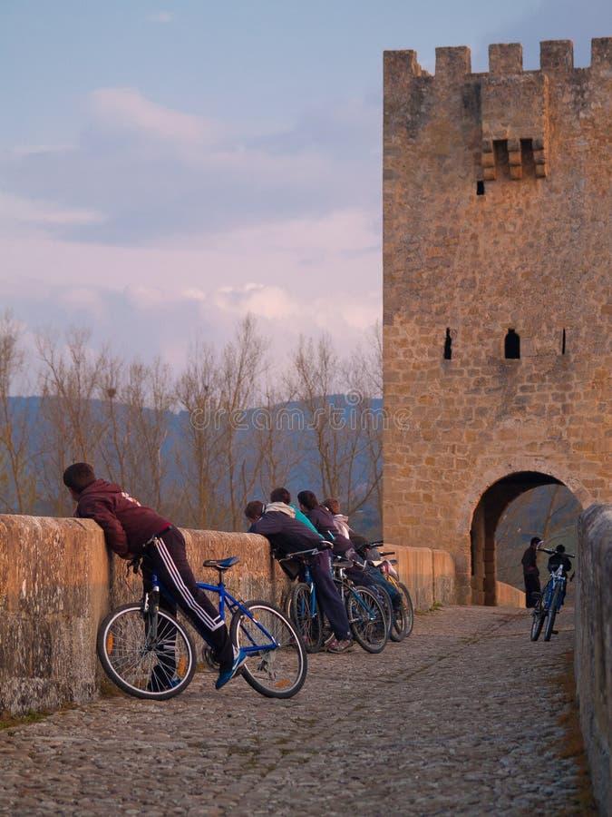 Ponte e torre medievali in Frias, Burgos 3 fotografia stock