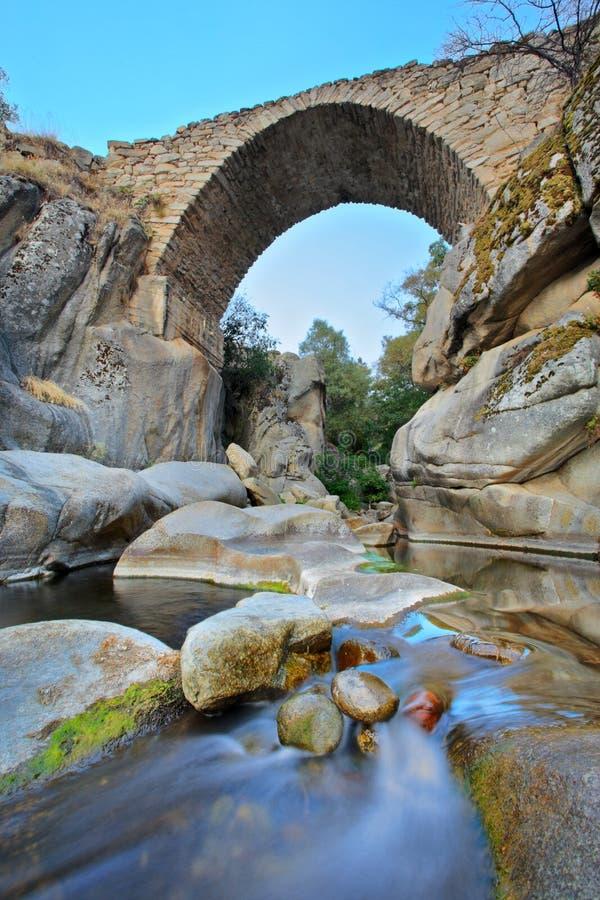 Ponte e um ribeiro na região de Mariovo imagem de stock