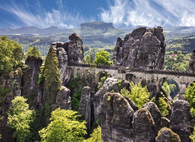 Ponte em Alemanha, Suíça saxão Bastei, Saxony, P nacional foto de stock royalty free