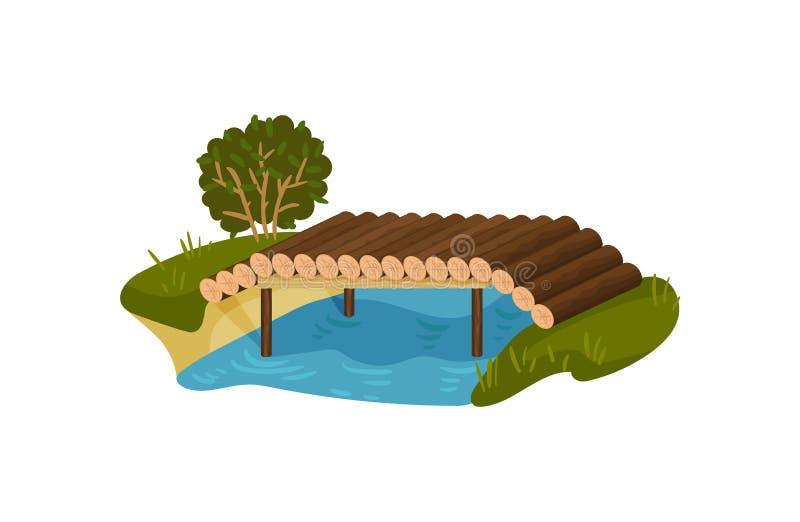 Ponte fatto dei ceppi dell'albero Piccola passerella del legname, fiume blu, cespuglio verde ed erba Progettazione piana di vetto royalty illustrazione gratis