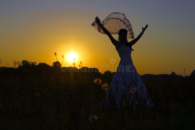 Ponte feliz no por do sol. imagem de stock royalty free
