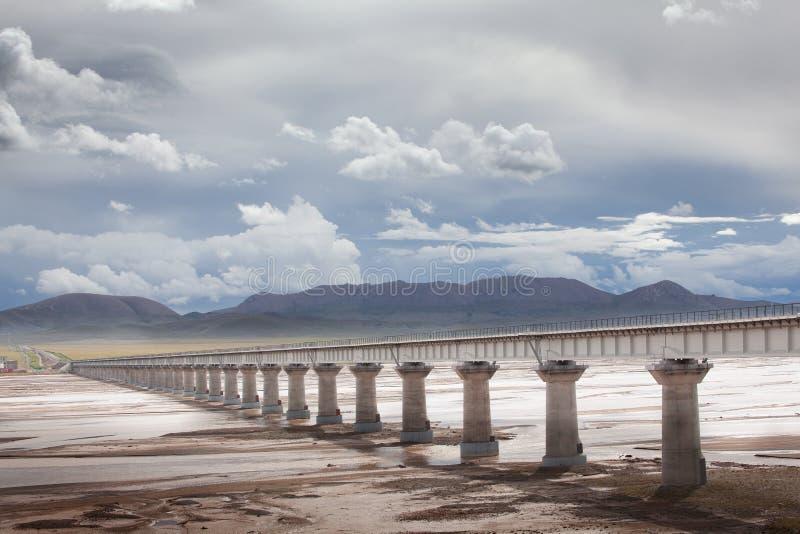 Ponte ferroviario del Qinghai-Tibet alla fonte del fiume Chang Jiang immagini stock