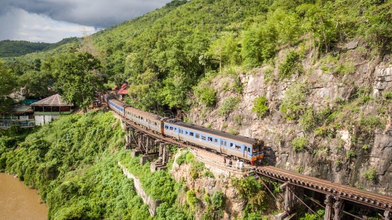 Ponte ferroviario di morte sopra il fiume di Kwai Noi immagini stock libere da diritti