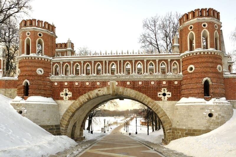 Ponte figurada em Tsaritsyno, Moscovo. imagem de stock