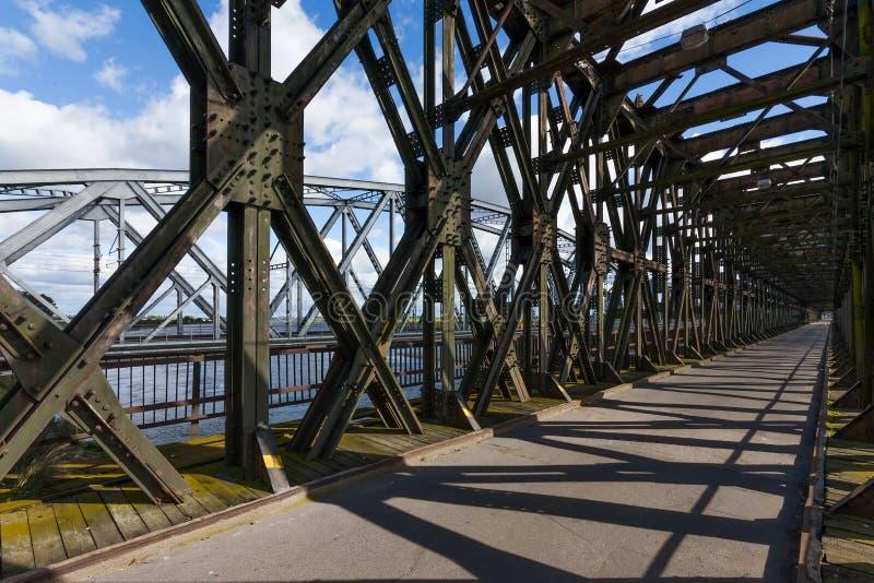Ponte histórica em Tczew, Polônia fotos de stock royalty free