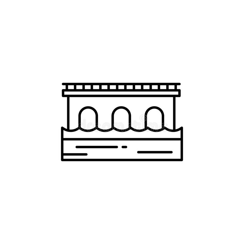 Ponte, icona del profilo della strada Elemento dell'illustrazione dei paesaggi I segni ed i simboli descrivono l'icona possono es illustrazione di stock