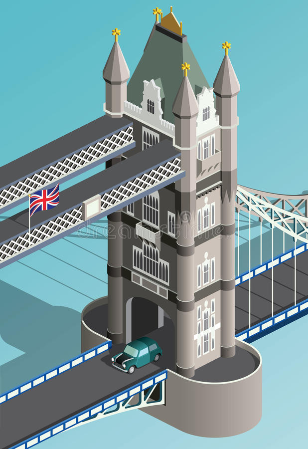 Ponte isométrica da torre de Londres ilustração stock