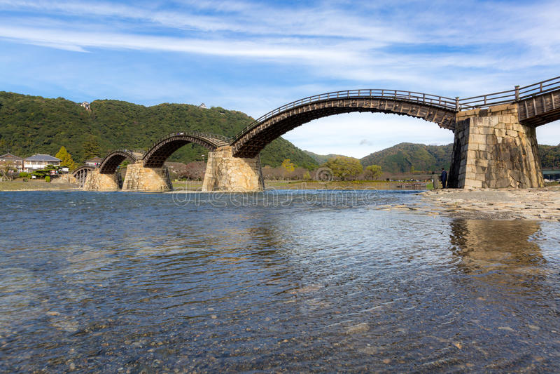 Ponte Iwakuni Hiroshima de Kintai fotos de stock royalty free