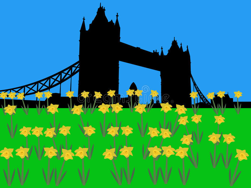 Ponte Londres da torre na primavera ilustração royalty free