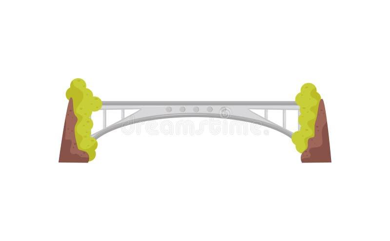 Ponte longa e grande do ferro Construção moderna do metal Infraestrutura de transporte urbano Tema da arquitetura Vetor liso ilustração do vetor