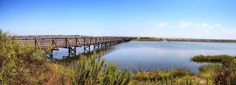 Ponte lungo la palude pacifica e tranquilla del wetl di Bolsa Chica immagine stock