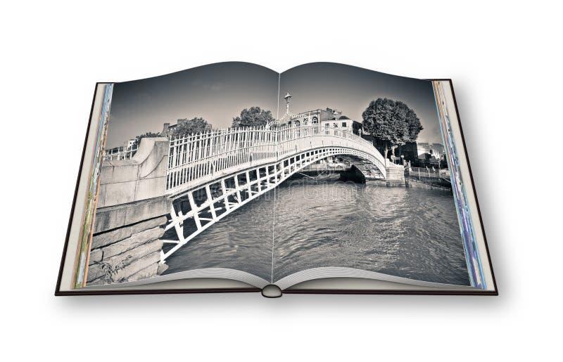 A ponte a mais famosa em Dublin chamou o ` meio ` da ponte da moeda de um centavo ilustração do vetor