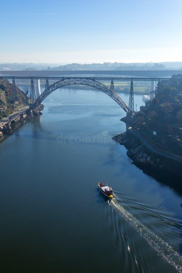 Ponte Maria Pia and Sao Joao bridges in Porto. Portugal royalty free stock photos