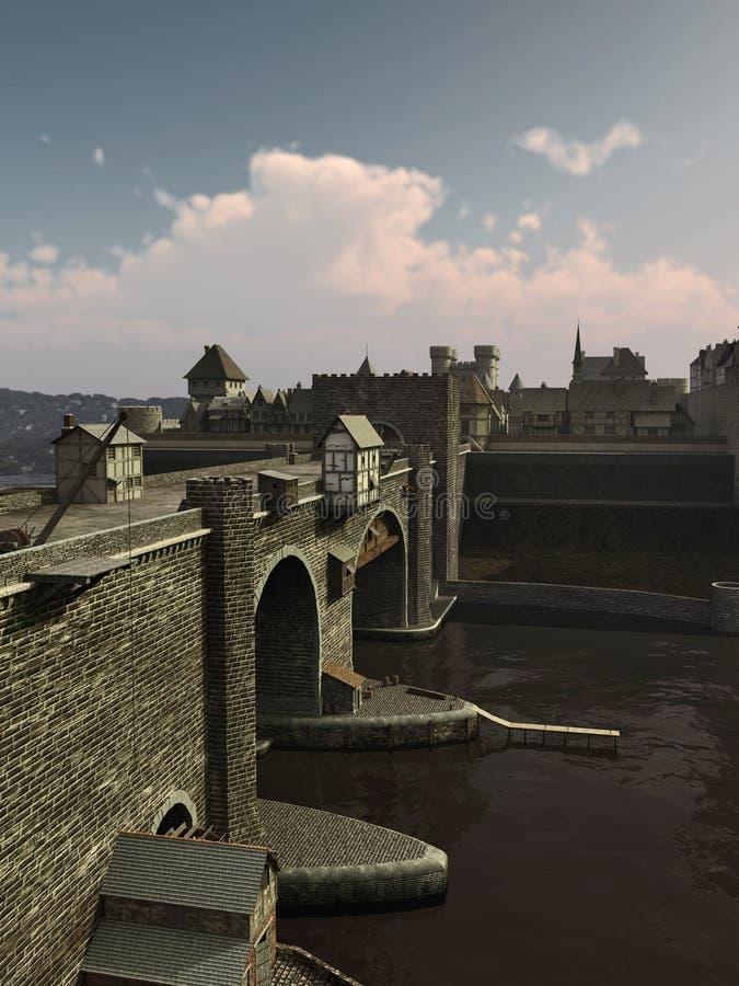 Ponte medievale a Città Vecchia illustrazione di stock