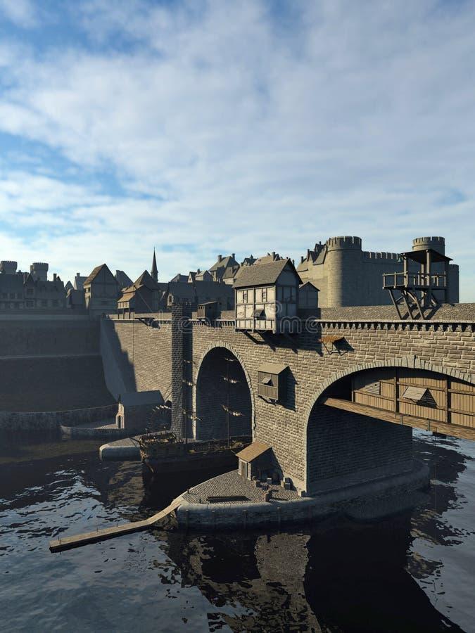 Ponte medievale e Città Vecchia con il castello illustrazione di stock