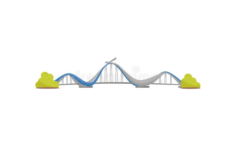 Ponte moderna do metal da suspensão Infraestrutura de transporte urbano Grande construção de aço Tema da arquitetura liso ilustração stock