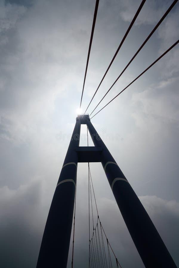 Ponte no céu com o sol, China fotografia de stock