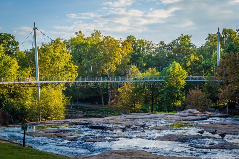 Ponte no parque das quedas no estridente, em Greenville, Caro sul imagens de stock royalty free