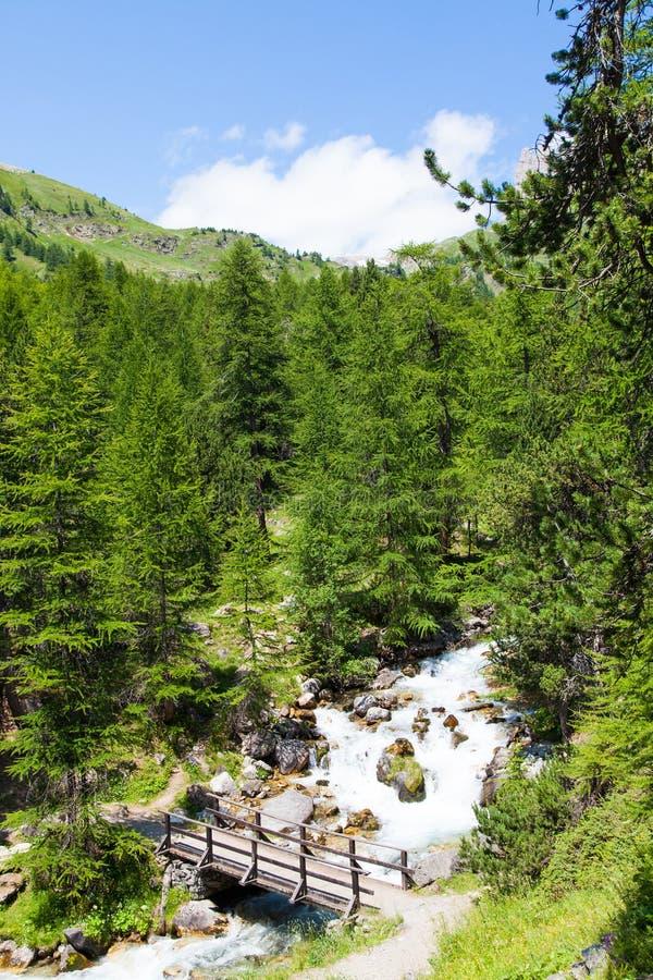 Ponte no rio da montanha imagens de stock