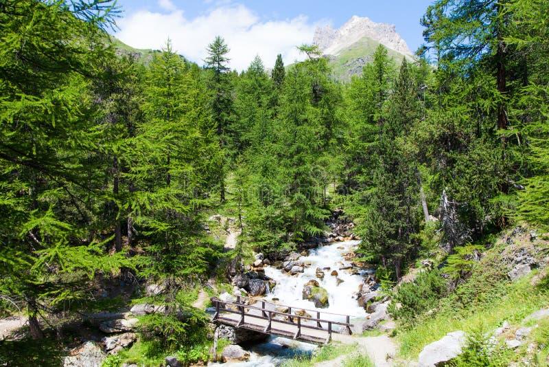 Ponte no rio da montanha fotografia de stock royalty free