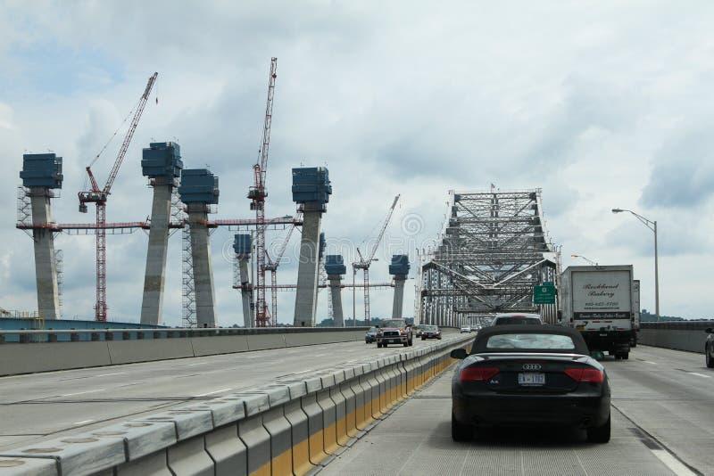 Ponte nova e velha de Tappan Zee foto de stock