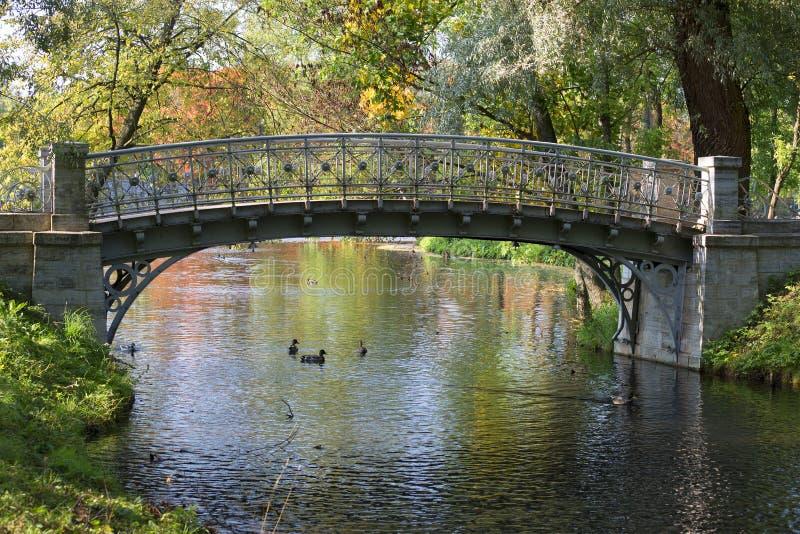 Ponte Openwork del metallo sopra il canale Parco di Gatcina, regione di Leningrado immagine stock libera da diritti