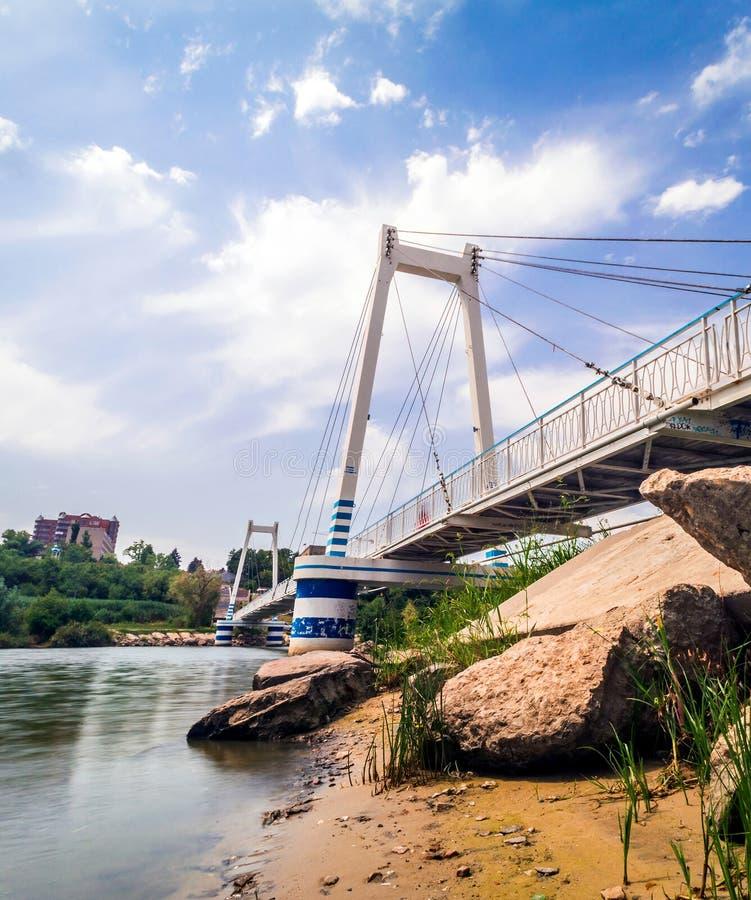 ponte pedestre Cabo-ficada da suspensão foto de stock royalty free
