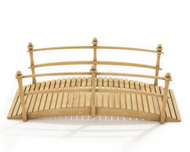 Ponte pedestre de madeira isolada no fundo branco ilustração stock